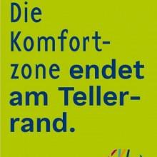 Flyer von kulturweit auf dem steht: Die Komfortzone endet am Tellerrand.