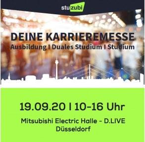 Grafik mit den Daten zur Stuzubi Düsseldorf: 19.9.2020, 10-16 Uhr, Mitsubishi Electric Halle