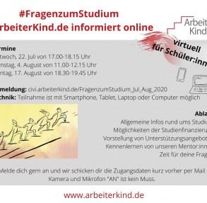 Flyer #FragenzumStudium mit den Terminen, also 22. Juli, 4. August und 17. August